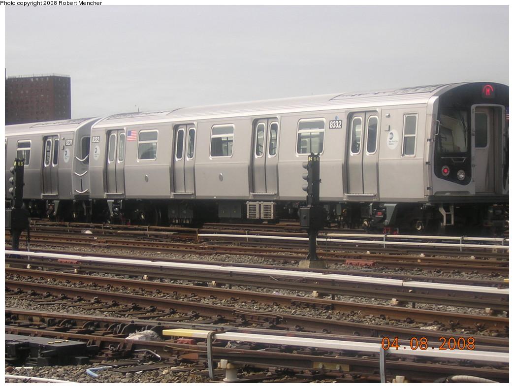 (239k, 1044x788)<br><b>Country:</b> United States<br><b>City:</b> New York<br><b>System:</b> New York City Transit<br><b>Location:</b> Coney Island Yard<br><b>Car:</b> R-160A-1 (Alstom, 2005-2008, 4 car sets)  8332 <br><b>Photo by:</b> Robert Mencher<br><b>Date:</b> 4/8/2008<br><b>Viewed (this week/total):</b> 0 / 1178