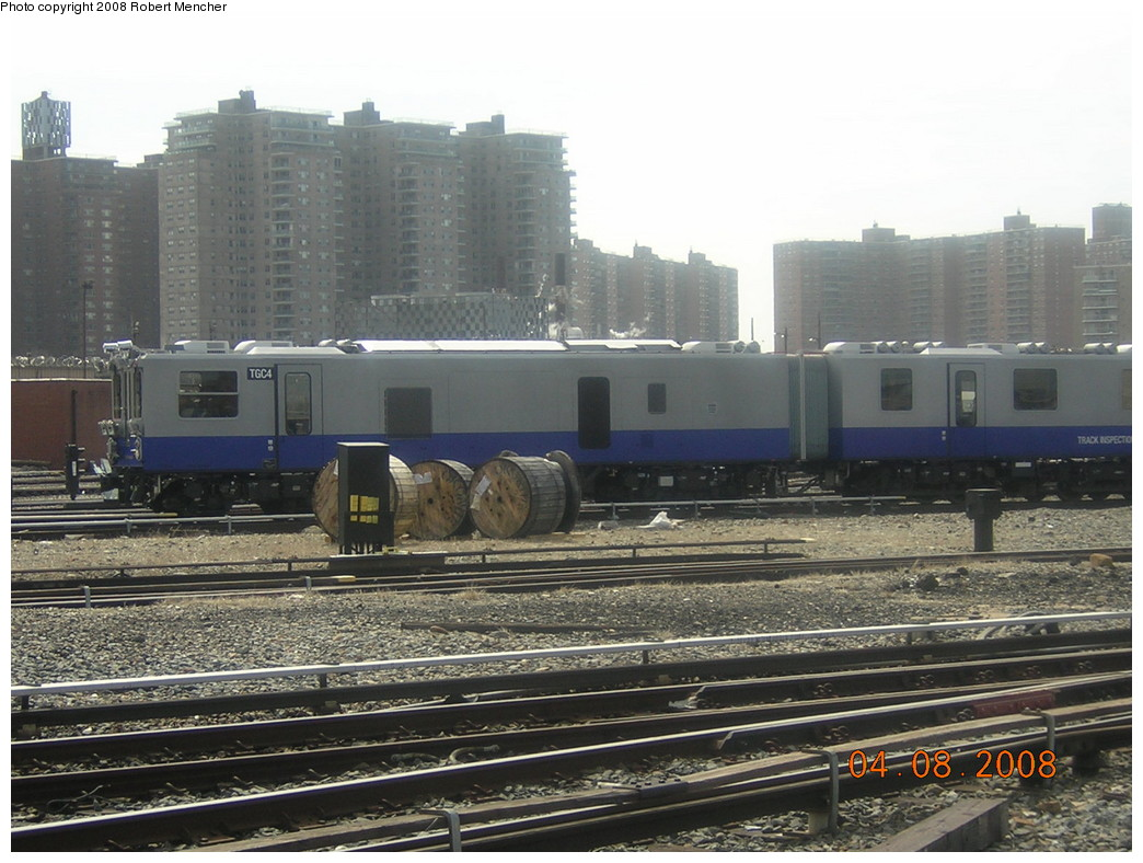 (250k, 1044x788)<br><b>Country:</b> United States<br><b>City:</b> New York<br><b>System:</b> New York City Transit<br><b>Location:</b> Coney Island Yard<br><b>Car:</b> Track Geometry Car TGC4 <br><b>Photo by:</b> Robert Mencher<br><b>Date:</b> 4/8/2008<br><b>Viewed (this week/total):</b> 0 / 1379