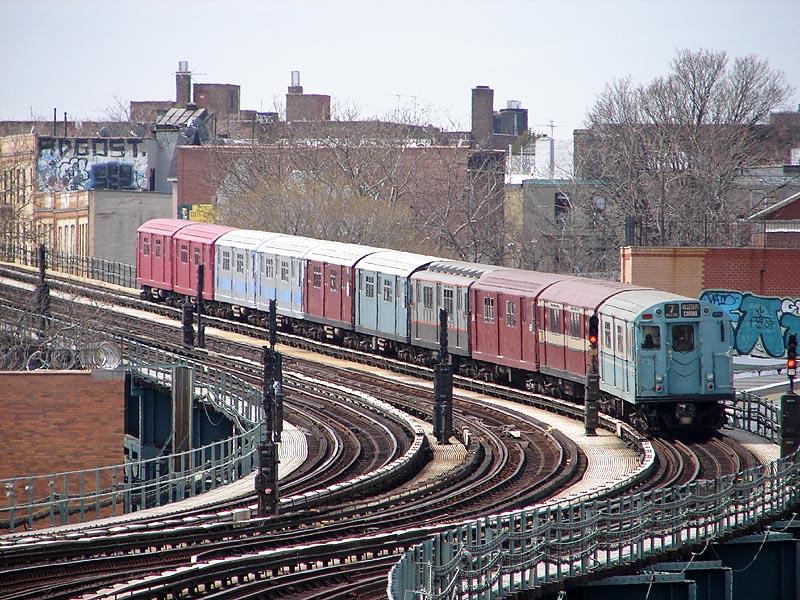 (167k, 800x600)<br><b>Country:</b> United States<br><b>City:</b> New York<br><b>System:</b> New York City Transit<br><b>Line:</b> IRT Flushing Line<br><b>Location:</b> 61st Street/Woodside <br><b>Route:</b> Museum Train Service (7)<br><b>Car:</b> R-33 World's Fair (St. Louis, 1963-64) 9306 <br><b>Photo by:</b> Bob Vogel<br><b>Date:</b> 4/8/2008<br><b>Viewed (this week/total):</b> 0 / 1846