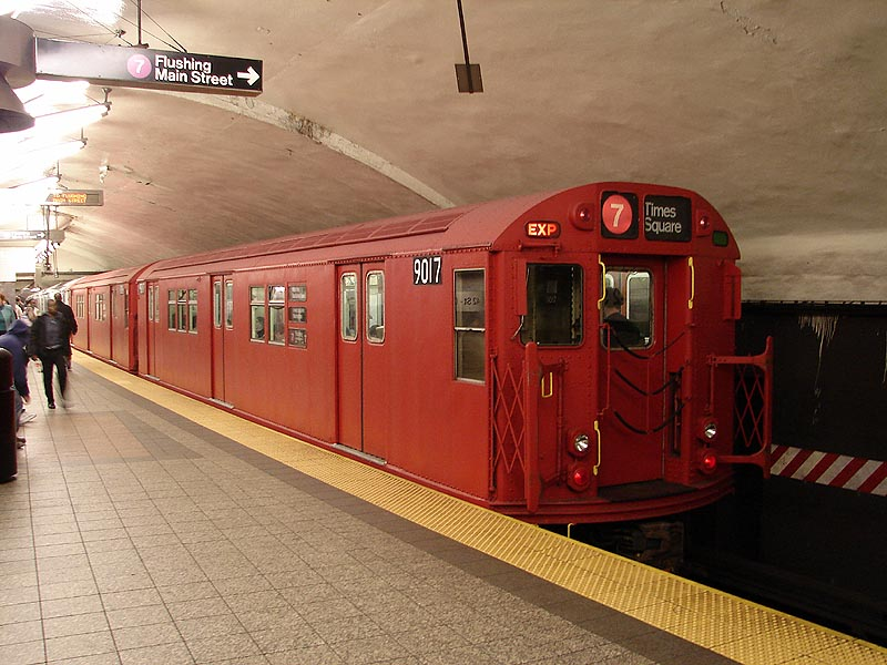 (99k, 800x600)<br><b>Country:</b> United States<br><b>City:</b> New York<br><b>System:</b> New York City Transit<br><b>Line:</b> IRT Flushing Line<br><b>Location:</b> Grand Central <br><b>Route:</b> Museum Train Service (7)<br><b>Car:</b> R-33 Main Line (St. Louis, 1962-63) 9017 <br><b>Photo by:</b> Bob Vogel<br><b>Date:</b> 4/8/2008<br><b>Viewed (this week/total):</b> 3 / 2534