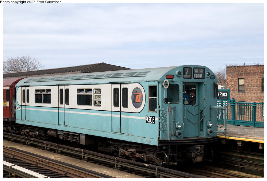 (186k, 870x589)<br><b>Country:</b> United States<br><b>City:</b> New York<br><b>System:</b> New York City Transit<br><b>Line:</b> IRT Flushing Line<br><b>Location:</b> 103rd Street/Corona Plaza <br><b>Route:</b> Museum Train Service (7)<br><b>Car:</b> R-33 World's Fair (St. Louis, 1963-64) 9306 <br><b>Photo by:</b> Fred Guenther<br><b>Date:</b> 4/8/2008<br><b>Viewed (this week/total):</b> 0 / 2116