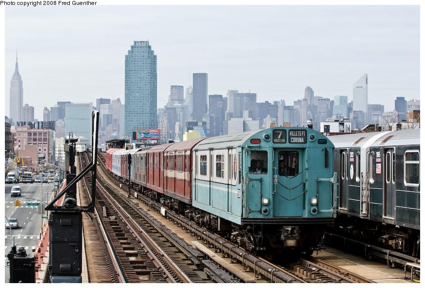 (217k, 870x589)<br><b>Country:</b> United States<br><b>City:</b> New York<br><b>System:</b> New York City Transit<br><b>Line:</b> IRT Flushing Line<br><b>Location:</b> 46th Street/Bliss Street <br><b>Route:</b> Museum Train Service (7)<br><b>Car:</b> R-33 World's Fair (St. Louis, 1963-64) 9306 <br><b>Photo by:</b> Fred Guenther<br><b>Date:</b> 4/8/2008<br><b>Notes:</b> Approaching 46th St.<br><b>Viewed (this week/total):</b> 0 / 1879