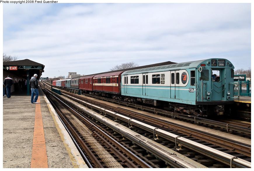 (216k, 870x589)<br><b>Country:</b> United States<br><b>City:</b> New York<br><b>System:</b> New York City Transit<br><b>Line:</b> IRT Flushing Line<br><b>Location:</b> 103rd Street/Corona Plaza <br><b>Route:</b> Museum Train Service (7)<br><b>Car:</b> R-33 World's Fair (St. Louis, 1963-64) 9306 <br><b>Photo by:</b> Fred Guenther<br><b>Date:</b> 4/8/2008<br><b>Viewed (this week/total):</b> 2 / 1611