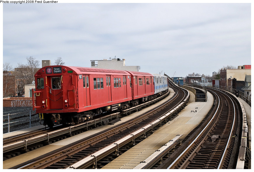 (219k, 870x589)<br><b>Country:</b> United States<br><b>City:</b> New York<br><b>System:</b> New York City Transit<br><b>Line:</b> IRT Flushing Line<br><b>Location:</b> 103rd Street/Corona Plaza <br><b>Route:</b> Museum Train Service (7)<br><b>Car:</b> R-33 Main Line (St. Louis, 1962-63) 9017 <br><b>Photo by:</b> Fred Guenther<br><b>Date:</b> 4/8/2008<br><b>Viewed (this week/total):</b> 3 / 1777