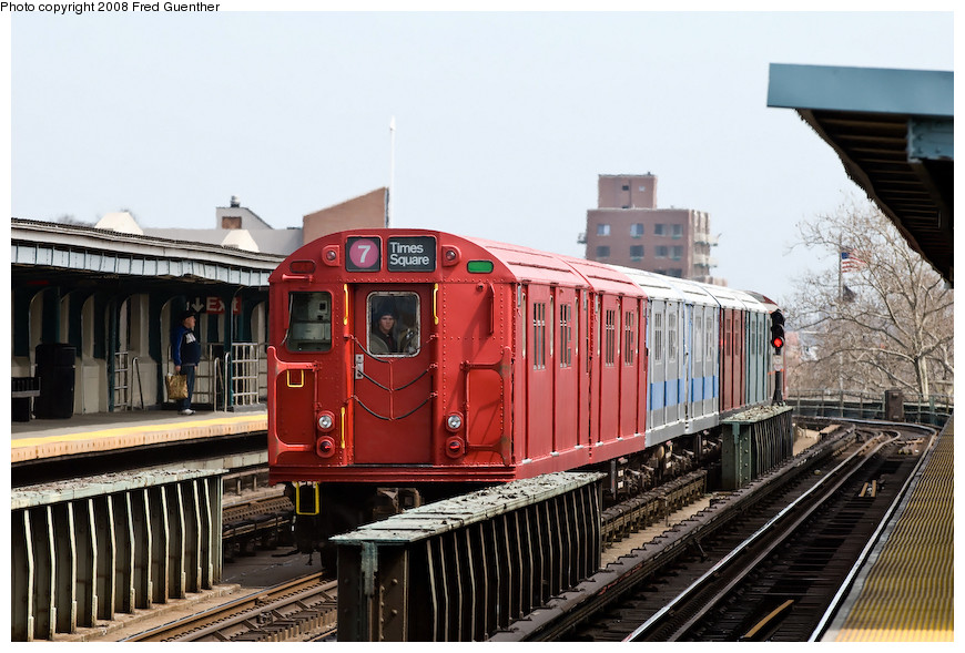 (205k, 870x589)<br><b>Country:</b> United States<br><b>City:</b> New York<br><b>System:</b> New York City Transit<br><b>Line:</b> IRT Flushing Line<br><b>Location:</b> 46th Street/Bliss Street <br><b>Route:</b> Museum Train Service (7)<br><b>Car:</b> R-33 Main Line (St. Louis, 1962-63) 9017 <br><b>Photo by:</b> Fred Guenther<br><b>Date:</b> 4/8/2008<br><b>Viewed (this week/total):</b> 0 / 1736