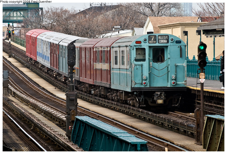 (284k, 870x589)<br><b>Country:</b> United States<br><b>City:</b> New York<br><b>System:</b> New York City Transit<br><b>Line:</b> IRT Flushing Line<br><b>Location:</b> 103rd Street/Corona Plaza <br><b>Route:</b> Museum Train Service (7)<br><b>Car:</b> R-33 World's Fair (St. Louis, 1963-64) 9306 <br><b>Photo by:</b> Fred Guenther<br><b>Date:</b> 4/8/2008<br><b>Viewed (this week/total):</b> 2 / 2129