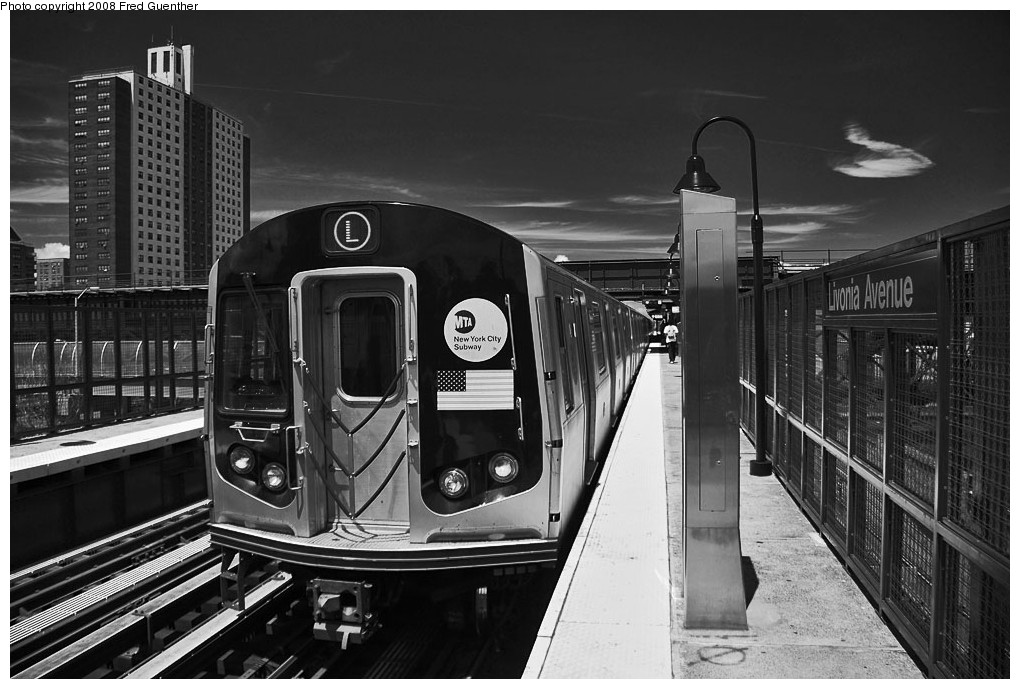 (195k, 1020x689)<br><b>Country:</b> United States<br><b>City:</b> New York<br><b>System:</b> New York City Transit<br><b>Line:</b> BMT Canarsie Line<br><b>Location:</b> Livonia Avenue <br><b>Route:</b> L<br><b>Car:</b> R-143 (Kawasaki, 2001-2002)  <br><b>Photo by:</b> Fred Guenther<br><b>Date:</b> 7/22/2007<br><b>Viewed (this week/total):</b> 1 / 2204