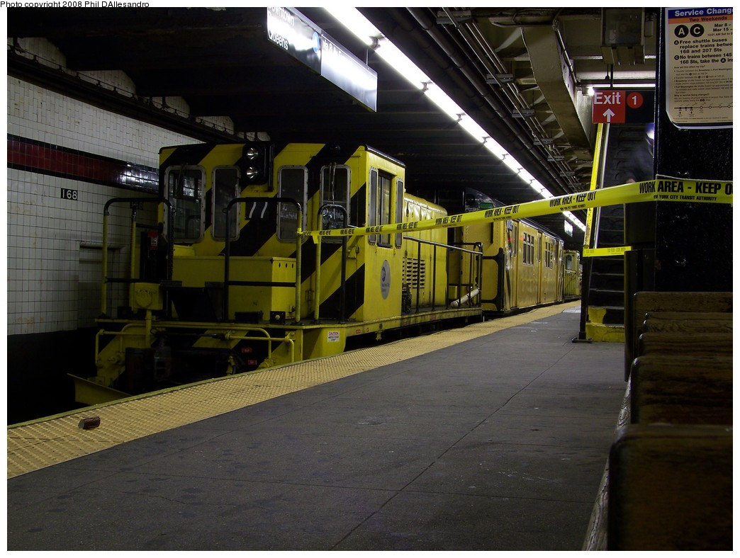(222k, 1044x788)<br><b>Country:</b> United States<br><b>City:</b> New York<br><b>System:</b> New York City Transit<br><b>Line:</b> IND 8th Avenue Line<br><b>Location:</b> 168th Street <br><b>Route:</b> Work Service<br><b>Car:</b> R-52 Locomotive  77 <br><b>Photo by:</b> Philip D'Allesandro<br><b>Date:</b> 3/8/2008<br><b>Viewed (this week/total):</b> 5 / 2055