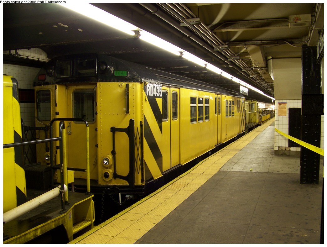 (217k, 1044x788)<br><b>Country:</b> United States<br><b>City:</b> New York<br><b>System:</b> New York City Transit<br><b>Line:</b> IND 8th Avenue Line<br><b>Location:</b> 168th Street <br><b>Route:</b> Work Service<br><b>Car:</b> R-161 Rider Car (ex-R-33)  RD435 (ex-8893)<br><b>Photo by:</b> Philip D'Allesandro<br><b>Date:</b> 3/8/2008<br><b>Viewed (this week/total):</b> 1 / 1663