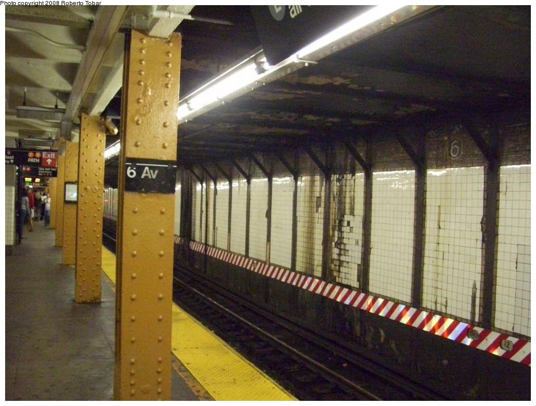 (224k, 1044x790)<br><b>Country:</b> United States<br><b>City:</b> New York<br><b>System:</b> New York City Transit<br><b>Line:</b> BMT Canarsie Line<br><b>Location:</b> 6th Avenue <br><b>Photo by:</b> Roberto C. Tobar<br><b>Date:</b> 4/12/2008<br><b>Notes:</b> Wall tile view.<br><b>Viewed (this week/total):</b> 0 / 1350