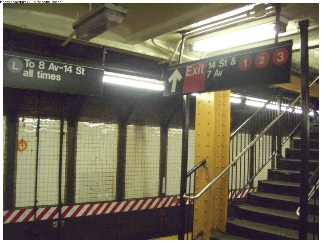 (215k, 1044x790)<br><b>Country:</b> United States<br><b>City:</b> New York<br><b>System:</b> New York City Transit<br><b>Line:</b> BMT Canarsie Line<br><b>Location:</b> 6th Avenue <br><b>Photo by:</b> Roberto C. Tobar<br><b>Date:</b> 4/12/2008<br><b>Viewed (this week/total):</b> 2 / 1697