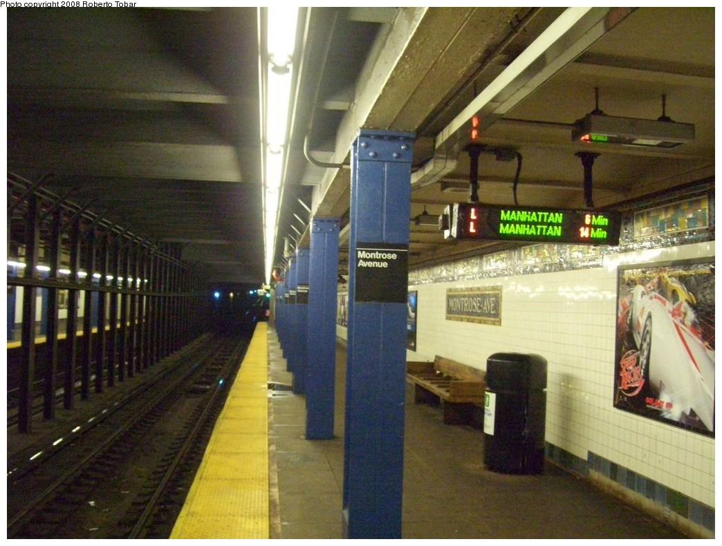 (219k, 1044x790)<br><b>Country:</b> United States<br><b>City:</b> New York<br><b>System:</b> New York City Transit<br><b>Line:</b> BMT Canarsie Line<br><b>Location:</b> Montrose Avenue <br><b>Photo by:</b> Roberto C. Tobar<br><b>Date:</b> 4/12/2008<br><b>Viewed (this week/total):</b> 1 / 1957