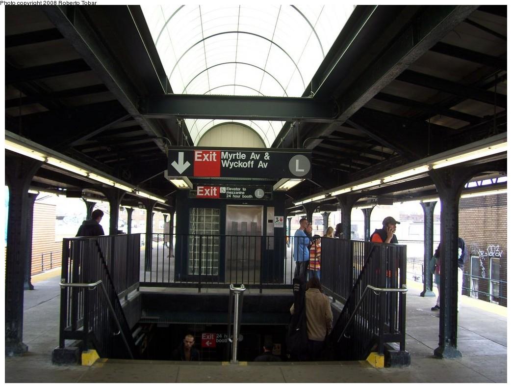 (202k, 1044x790)<br><b>Country:</b> United States<br><b>City:</b> New York<br><b>System:</b> New York City Transit<br><b>Line:</b> BMT Myrtle Avenue Line<br><b>Location:</b> Wyckoff Avenue <br><b>Photo by:</b> Roberto C. Tobar<br><b>Date:</b> 4/12/2008<br><b>Notes:</b> New skylights and elevator.<br><b>Viewed (this week/total):</b> 0 / 2293