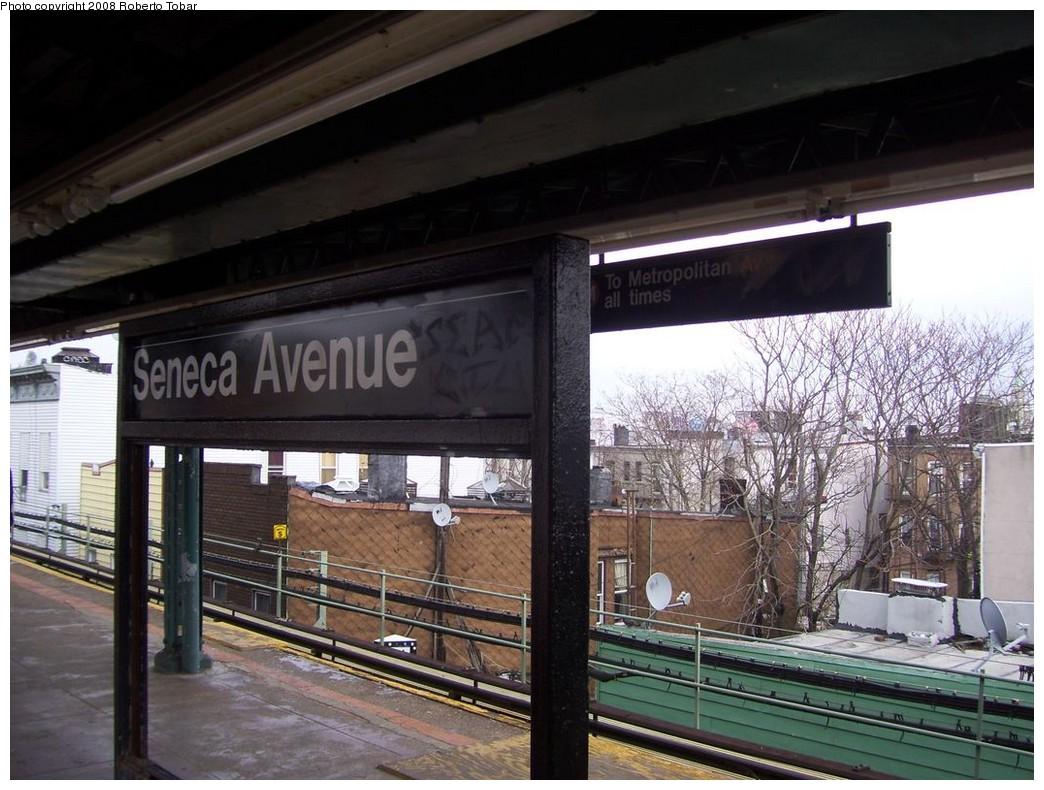 (223k, 1044x790)<br><b>Country:</b> United States<br><b>City:</b> New York<br><b>System:</b> New York City Transit<br><b>Line:</b> BMT Myrtle Avenue Line<br><b>Location:</b> Seneca Avenue <br><b>Photo by:</b> Roberto C. Tobar<br><b>Date:</b> 4/12/2008<br><b>Viewed (this week/total):</b> 0 / 1270