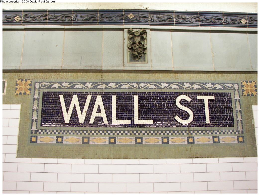 (301k, 1044x788)<br><b>Country:</b> United States<br><b>City:</b> New York<br><b>System:</b> New York City Transit<br><b>Line:</b> IRT East Side Line<br><b>Location:</b> Wall Street <br><b>Photo by:</b> David-Paul Gerber<br><b>Date:</b> 4/11/2008<br><b>Notes:</b> Wall St. station after renovation.<br><b>Viewed (this week/total):</b> 0 / 1464