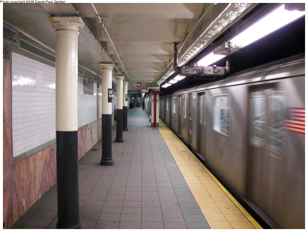 (251k, 1044x788)<br><b>Country:</b> United States<br><b>City:</b> New York<br><b>System:</b> New York City Transit<br><b>Line:</b> IRT East Side Line<br><b>Location:</b> Wall Street <br><b>Photo by:</b> David-Paul Gerber<br><b>Date:</b> 4/11/2008<br><b>Notes:</b> Wall St. station after renovation.<br><b>Viewed (this week/total):</b> 0 / 1852