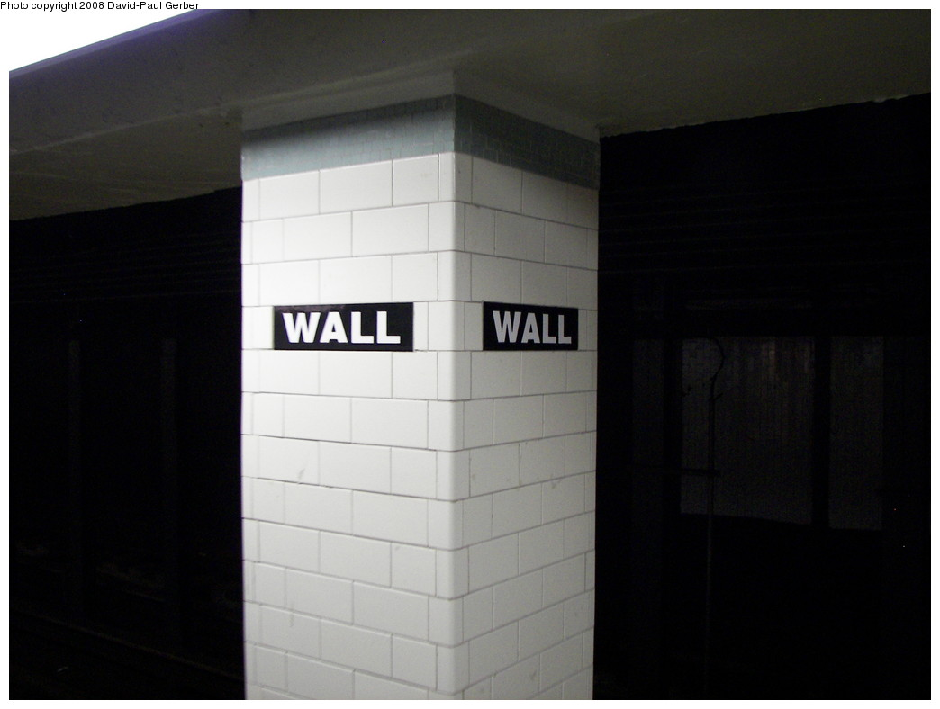 (171k, 1044x788)<br><b>Country:</b> United States<br><b>City:</b> New York<br><b>System:</b> New York City Transit<br><b>Line:</b> IRT East Side Line<br><b>Location:</b> Wall Street <br><b>Photo by:</b> David-Paul Gerber<br><b>Date:</b> 4/11/2008<br><b>Notes:</b> Wall St. station after renovation.<br><b>Viewed (this week/total):</b> 2 / 1493