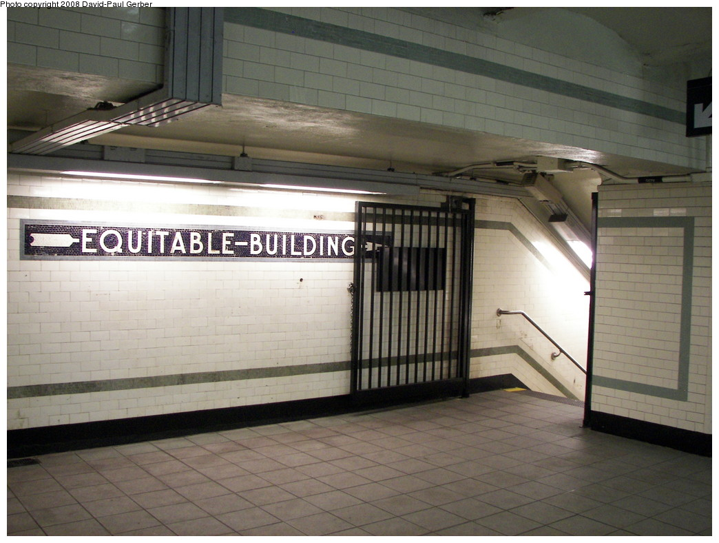 (255k, 1044x788)<br><b>Country:</b> United States<br><b>City:</b> New York<br><b>System:</b> New York City Transit<br><b>Line:</b> IRT East Side Line<br><b>Location:</b> Wall Street <br><b>Photo by:</b> David-Paul Gerber<br><b>Date:</b> 4/11/2008<br><b>Notes:</b> Wall St. station after renovation. Equitable Building passageway.<br><b>Viewed (this week/total):</b> 1 / 1587