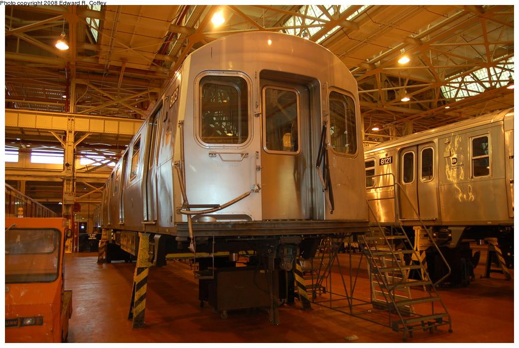 (296k, 1044x699)<br><b>Country:</b> United States<br><b>City:</b> New York<br><b>System:</b> New York City Transit<br><b>Location:</b> Coney Island Shop/Overhaul & Repair Shop<br><b>Car:</b> R-143 (Kawasaki, 2001-2002) 8123 <br><b>Photo by:</b> Edward R. Coffey<br><b>Date:</b> 4/12/2008<br><b>Viewed (this week/total):</b> 0 / 2326