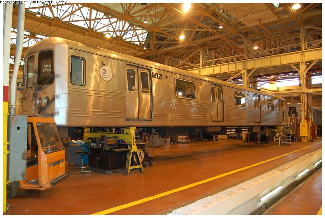 (308k, 1044x699)<br><b>Country:</b> United States<br><b>City:</b> New York<br><b>System:</b> New York City Transit<br><b>Location:</b> Coney Island Shop/Overhaul & Repair Shop<br><b>Car:</b> R-46 (Pullman-Standard, 1974-75) 5714 <br><b>Photo by:</b> Edward R. Coffey<br><b>Date:</b> 4/12/2008<br><b>Viewed (this week/total):</b> 0 / 979