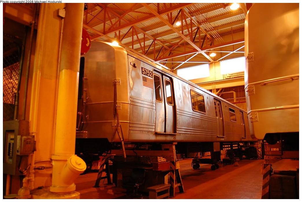 (216k, 1044x699)<br><b>Country:</b> United States<br><b>City:</b> New York<br><b>System:</b> New York City Transit<br><b>Location:</b> Coney Island Shop/Overhaul & Repair Shop<br><b>Car:</b> R-46 (Pullman-Standard, 1974-75) 5752 <br><b>Photo by:</b> Michael Hodurski<br><b>Date:</b> 4/12/2008<br><b>Viewed (this week/total):</b> 0 / 1005