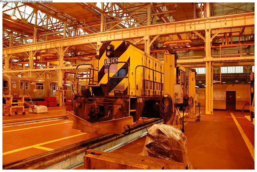 (317k, 1044x699)<br><b>Country:</b> United States<br><b>City:</b> New York<br><b>System:</b> New York City Transit<br><b>Location:</b> Coney Island Shop/Overhaul & Repair Shop<br><b>Car:</b> R-120 Locomotive  906 <br><b>Photo by:</b> Michael Hodurski<br><b>Date:</b> 4/12/2008<br><b>Viewed (this week/total):</b> 1 / 1171