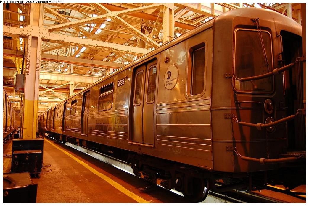 (266k, 1044x699)<br><b>Country:</b> United States<br><b>City:</b> New York<br><b>System:</b> New York City Transit<br><b>Location:</b> Coney Island Shop/Overhaul & Repair Shop<br><b>Car:</b> R-68 (Westinghouse-Amrail, 1986-1988)  2883 <br><b>Photo by:</b> Michael Hodurski<br><b>Date:</b> 4/12/2008<br><b>Viewed (this week/total):</b> 0 / 1322