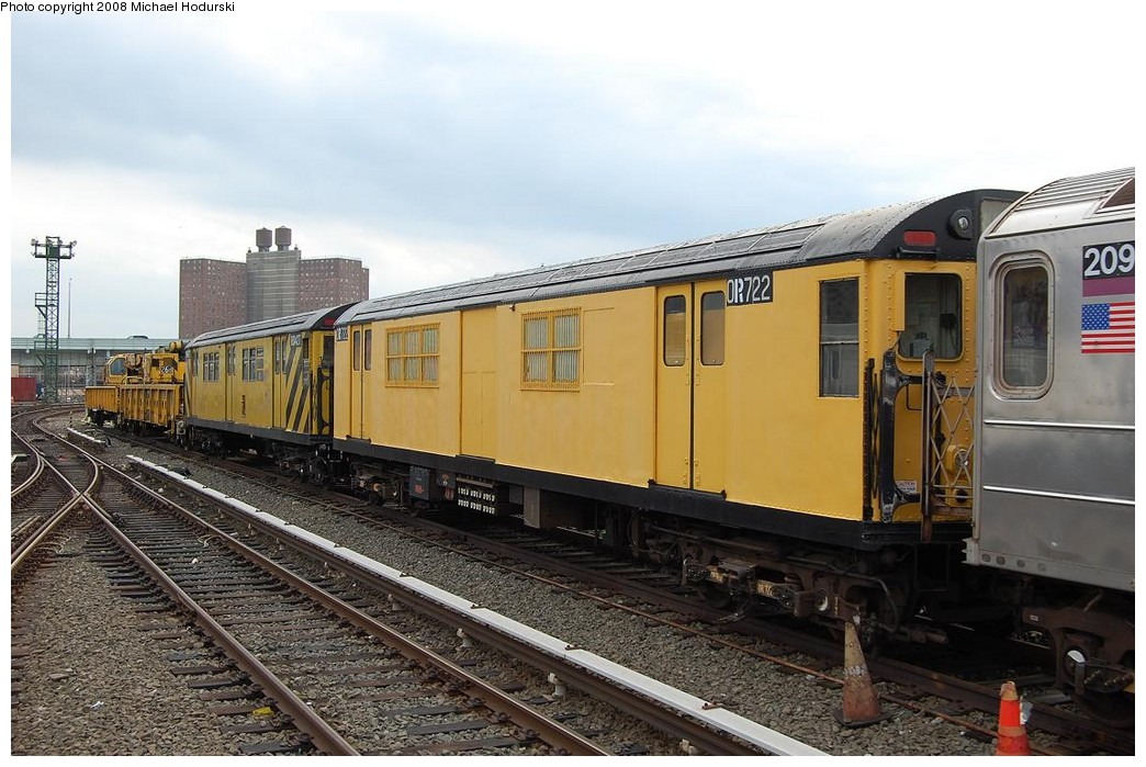 (230k, 1044x699)<br><b>Country:</b> United States<br><b>City:</b> New York<br><b>System:</b> New York City Transit<br><b>Location:</b> Coney Island Yard<br><b>Car:</b> R-95 Revenue Collector 0R722 (ex-7368)<br><b>Photo by:</b> Michael Hodurski<br><b>Date:</b> 4/12/2008<br><b>Viewed (this week/total):</b> 7 / 1328
