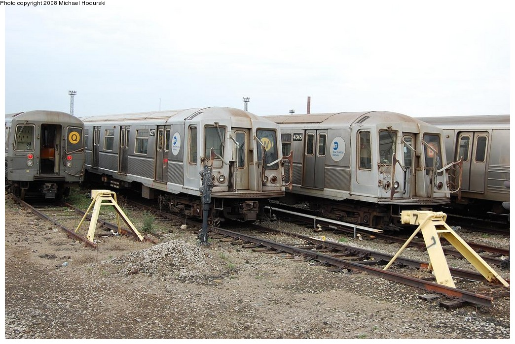 (274k, 1044x699)<br><b>Country:</b> United States<br><b>City:</b> New York<br><b>System:</b> New York City Transit<br><b>Location:</b> Coney Island Yard<br><b>Car:</b> R-40 (St. Louis, 1968)  4277-4345 <br><b>Photo by:</b> Michael Hodurski<br><b>Date:</b> 4/12/2008<br><b>Viewed (this week/total):</b> 0 / 1752