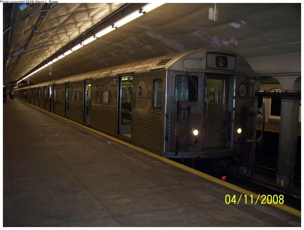 (174k, 1044x788)<br><b>Country:</b> United States<br><b>City:</b> New York<br><b>System:</b> New York City Transit<br><b>Line:</b> IND 8th Avenue Line<br><b>Location:</b> 190th Street/Overlook Terrace <br><b>Route:</b> A<br><b>Car:</b> R-38 (St. Louis, 1966-1967)  4100 <br><b>Photo by:</b> Glenn L. Rowe<br><b>Date:</b> 4/11/2008<br><b>Viewed (this week/total):</b> 0 / 1733