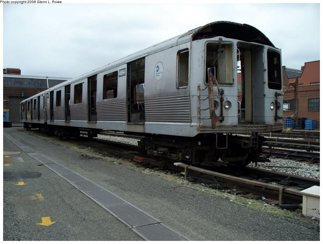 (220k, 1044x788)<br><b>Country:</b> United States<br><b>City:</b> New York<br><b>System:</b> New York City Transit<br><b>Location:</b> 207th Street Yard<br><b>Car:</b> R-42 (St. Louis, 1969-1970)  4894 <br><b>Photo by:</b> Glenn L. Rowe<br><b>Date:</b> 4/7/2008<br><b>Viewed (this week/total):</b> 0 / 1422