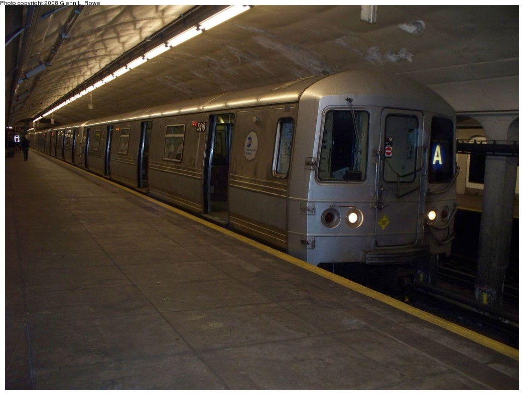 (168k, 1044x788)<br><b>Country:</b> United States<br><b>City:</b> New York<br><b>System:</b> New York City Transit<br><b>Line:</b> IND 8th Avenue Line<br><b>Location:</b> 190th Street/Overlook Terrace <br><b>Route:</b> A<br><b>Car:</b> R-44 (St. Louis, 1971-73) 5416 <br><b>Photo by:</b> Glenn L. Rowe<br><b>Date:</b> 4/9/2008<br><b>Viewed (this week/total):</b> 0 / 1378