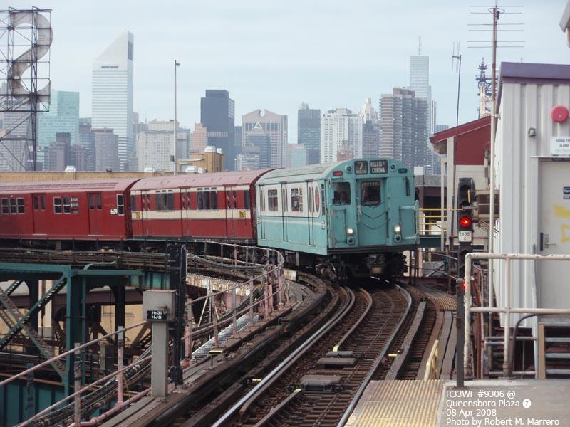 (130k, 800x600)<br><b>Country:</b> United States<br><b>City:</b> New York<br><b>System:</b> New York City Transit<br><b>Line:</b> IRT Flushing Line<br><b>Location:</b> Queensborough Plaza <br><b>Route:</b> Museum Train Service (7)<br><b>Car:</b> R-33 World's Fair (St. Louis, 1963-64) 9306 <br><b>Photo by:</b> Robert Marrero<br><b>Date:</b> 4/8/2008<br><b>Viewed (this week/total):</b> 0 / 2102