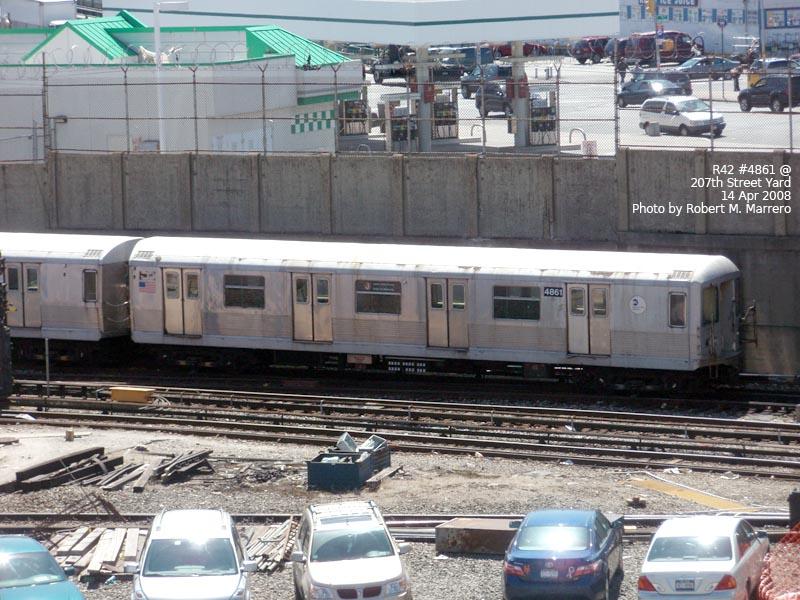 (147k, 800x600)<br><b>Country:</b> United States<br><b>City:</b> New York<br><b>System:</b> New York City Transit<br><b>Location:</b> 207th Street Yard<br><b>Car:</b> R-42 (St. Louis, 1969-1970)  4861 <br><b>Photo by:</b> Robert Marrero<br><b>Date:</b> 4/14/2008<br><b>Viewed (this week/total):</b> 0 / 1833