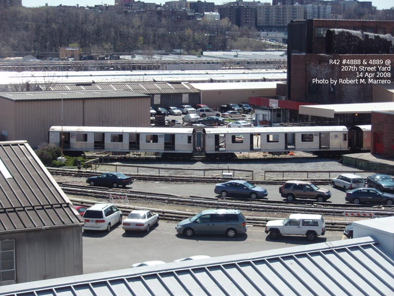 (156k, 800x600)<br><b>Country:</b> United States<br><b>City:</b> New York<br><b>System:</b> New York City Transit<br><b>Location:</b> 207th Street Yard<br><b>Car:</b> R-42 (St. Louis, 1969-1970)  4888/4889 <br><b>Photo by:</b> Robert Marrero<br><b>Date:</b> 4/14/2008<br><b>Notes:</b> Scrap<br><b>Viewed (this week/total):</b> 0 / 1769