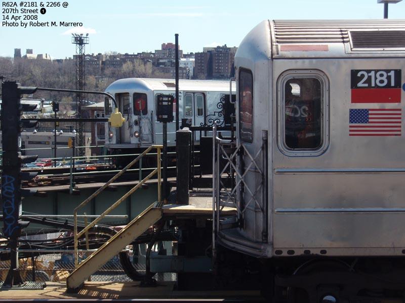(119k, 800x600)<br><b>Country:</b> United States<br><b>City:</b> New York<br><b>System:</b> New York City Transit<br><b>Line:</b> IRT West Side Line<br><b>Location:</b> 207th Street <br><b>Route:</b> 1<br><b>Car:</b> R-62A (Bombardier, 1984-1987)  2181/2266 <br><b>Photo by:</b> Robert Marrero<br><b>Date:</b> 4/14/2008<br><b>Viewed (this week/total):</b> 0 / 2539