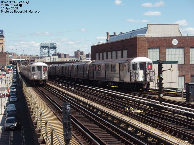 (141k, 800x600)<br><b>Country:</b> United States<br><b>City:</b> New York<br><b>System:</b> New York City Transit<br><b>Line:</b> IRT West Side Line<br><b>Location:</b> 207th Street <br><b>Route:</b> 1<br><b>Car:</b> R-62A (Bombardier, 1984-1987)  2396 <br><b>Photo by:</b> Robert Marrero<br><b>Date:</b> 4/14/2008<br><b>Viewed (this week/total):</b> 0 / 1698