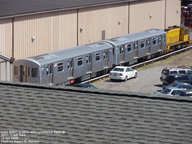 (139k, 800x600)<br><b>Country:</b> United States<br><b>City:</b> New York<br><b>System:</b> New York City Transit<br><b>Location:</b> 207th Street Yard<br><b>Car:</b> R-160B (Kawasaki, 2005-2008)  8971/8972 <br><b>Photo by:</b> Robert Marrero<br><b>Date:</b> 4/16/2008<br><b>Viewed (this week/total):</b> 1 / 4773