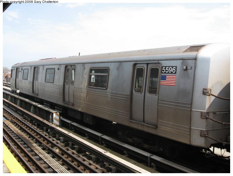 (114k, 820x620)<br><b>Country:</b> United States<br><b>City:</b> New York<br><b>System:</b> New York City Transit<br><b>Line:</b> BMT Culver Line<br><b>Location:</b> Avenue X <br><b>Route:</b> F<br><b>Car:</b> R-46 (Pullman-Standard, 1974-75) 5596 <br><b>Photo by:</b> Gary Chatterton<br><b>Date:</b> 4/12/2008<br><b>Viewed (this week/total):</b> 1 / 1102
