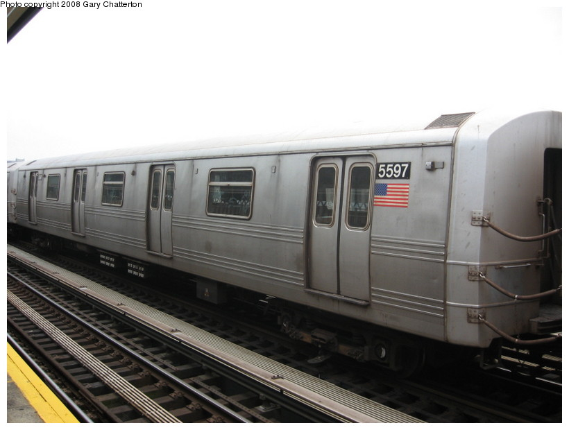 (99k, 820x620)<br><b>Country:</b> United States<br><b>City:</b> New York<br><b>System:</b> New York City Transit<br><b>Line:</b> BMT Culver Line<br><b>Location:</b> Avenue X <br><b>Route:</b> F<br><b>Car:</b> R-46 (Pullman-Standard, 1974-75) 5597 <br><b>Photo by:</b> Gary Chatterton<br><b>Date:</b> 4/12/2008<br><b>Viewed (this week/total):</b> 4 / 1241