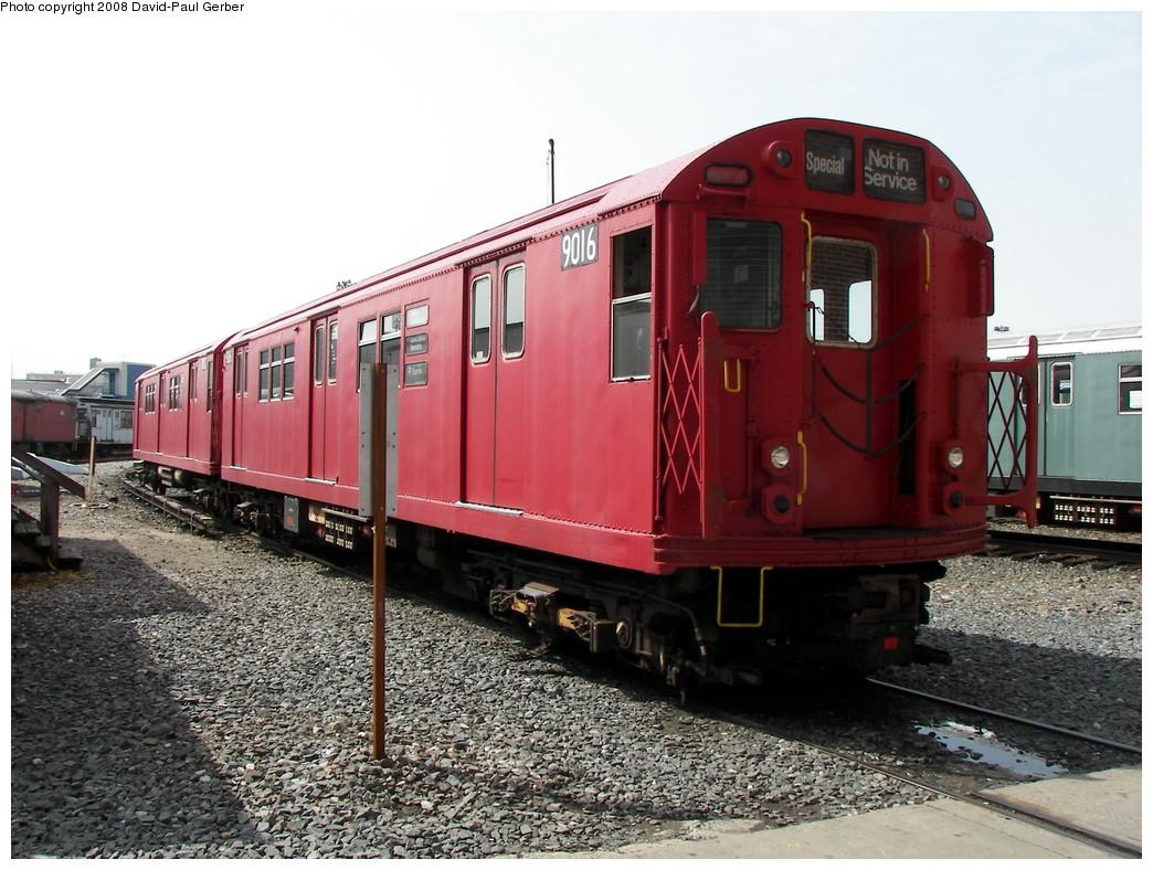 (292k, 1044x788)<br><b>Country:</b> United States<br><b>City:</b> New York<br><b>System:</b> New York City Transit<br><b>Location:</b> Coney Island Yard<br><b>Car:</b> R-33 Main Line (St. Louis, 1962-63) 9016 <br><b>Photo by:</b> David-Paul Gerber<br><b>Date:</b> 4/12/2008<br><b>Viewed (this week/total):</b> 0 / 1335