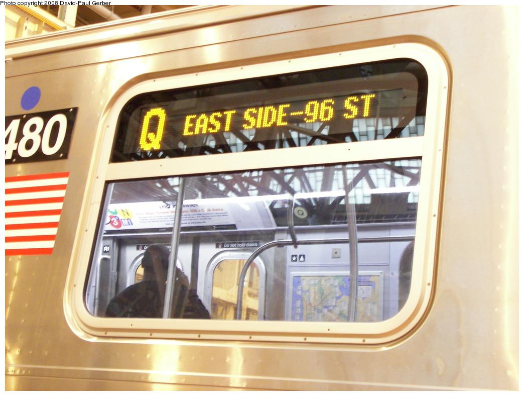 (259k, 1044x788)<br><b>Country:</b> United States<br><b>City:</b> New York<br><b>System:</b> New York City Transit<br><b>Location:</b> Coney Island Shop/Overhaul & Repair Shop<br><b>Car:</b> R-160A-1 (Alstom, 2005-2008, 4 car sets)  8480 <br><b>Photo by:</b> David-Paul Gerber<br><b>Date:</b> 4/12/2008<br><b>Notes:</b> Q-2nd Ave. subway destination sign.<br><b>Viewed (this week/total):</b> 0 / 3187
