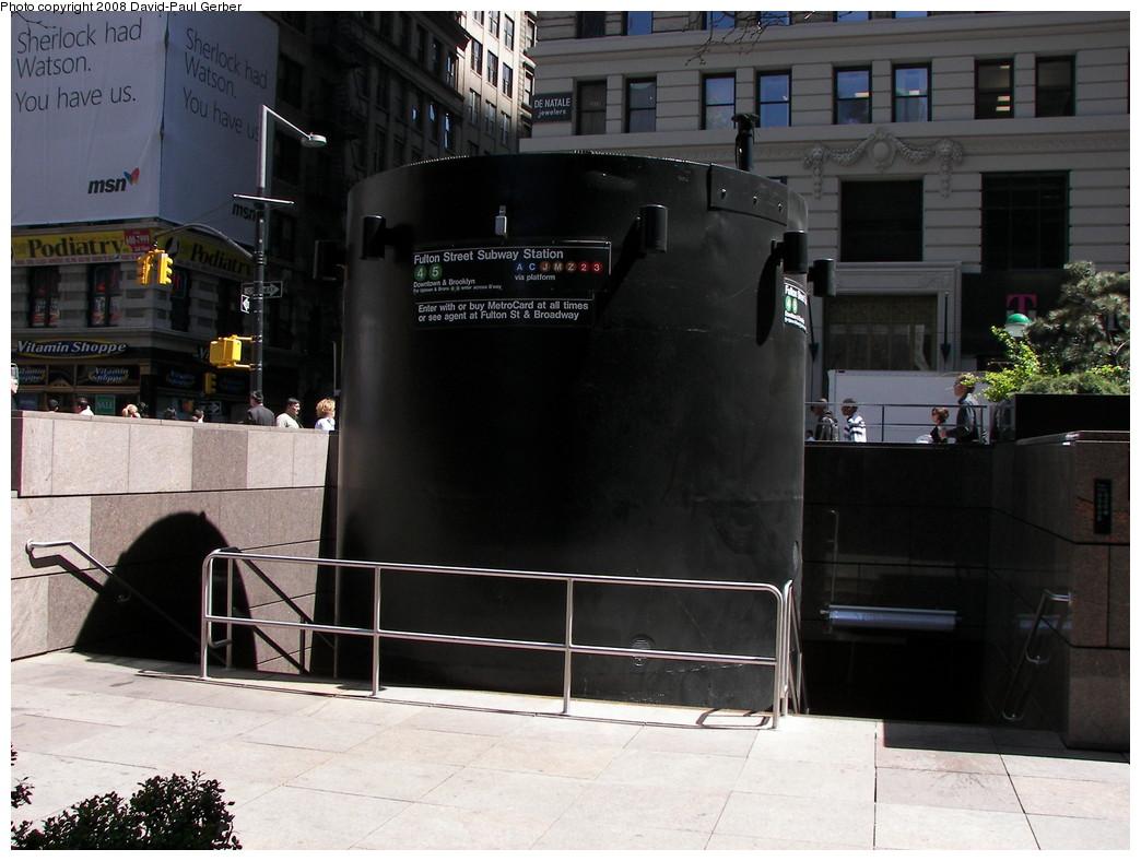 (253k, 1044x788)<br><b>Country:</b> United States<br><b>City:</b> New York<br><b>System:</b> New York City Transit<br><b>Line:</b> IRT East Side Line<br><b>Location:</b> Fulton Street <br><b>Photo by:</b> David-Paul Gerber<br><b>Date:</b> 4/17/2008<br><b>Notes:</b> New station entrance.<br><b>Viewed (this week/total):</b> 2 / 2914
