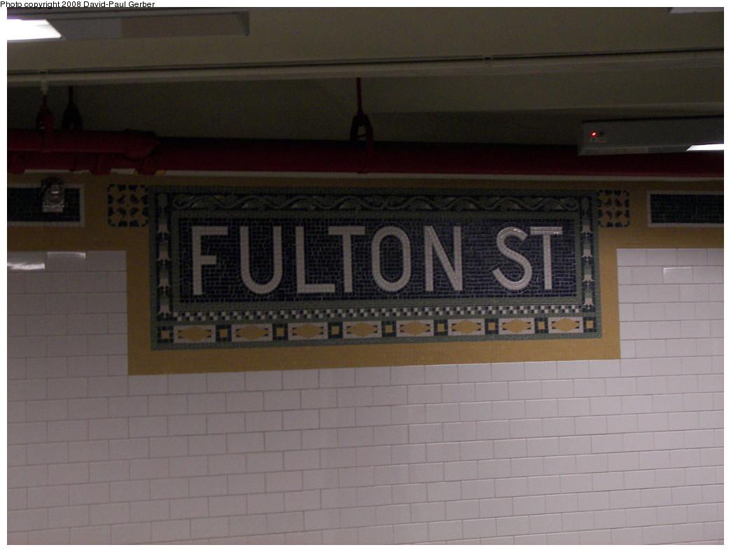 (216k, 1044x788)<br><b>Country:</b> United States<br><b>City:</b> New York<br><b>System:</b> New York City Transit<br><b>Line:</b> IRT East Side Line<br><b>Location:</b> Fulton Street <br><b>Photo by:</b> David-Paul Gerber<br><b>Date:</b> 4/17/2008<br><b>Viewed (this week/total):</b> 5 / 1863