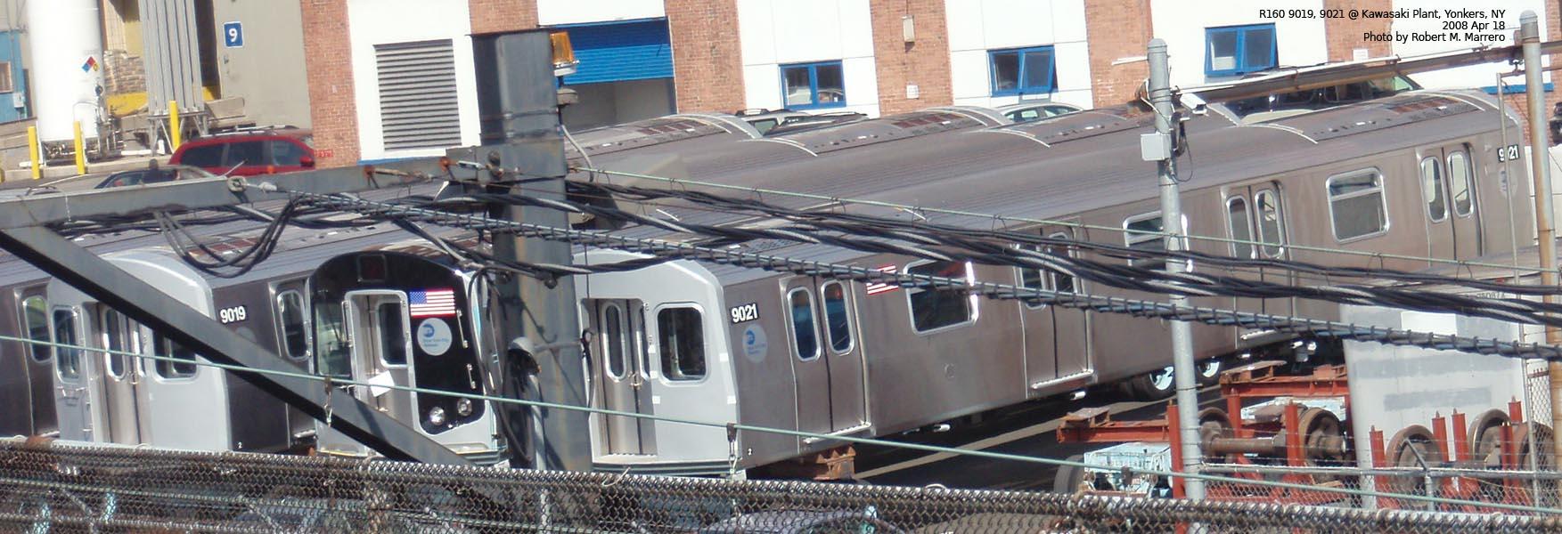 (208k, 1753x600)<br><b>Country:</b> United States<br><b>City:</b> New York<br><b>System:</b> New York City Transit<br><b>Location:</b> Kawasaki Plant, Yonkers, NY<br><b>Car:</b> R-160B (Option 1) (Kawasaki, 2008-2009)  9019/?/9021 <br><b>Photo by:</b> Robert Marrero<br><b>Date:</b> 4/18/2008<br><b>Notes:</b> Two B and one A car of the R160B option order at Kawasaki Plant, Yonkers.<br><b>Viewed (this week/total):</b> 0 / 4187