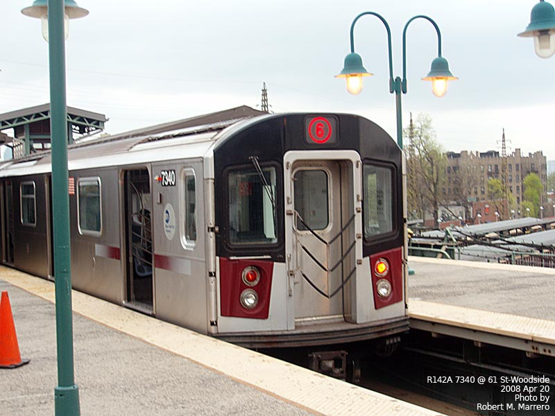 (117k, 800x600)<br><b>Country:</b> United States<br><b>City:</b> New York<br><b>System:</b> New York City Transit<br><b>Line:</b> IRT Flushing Line<br><b>Location:</b> 61st Street/Woodside <br><b>Car:</b> R-142A (Primary Order, Kawasaki, 1999-2002)  7340 <br><b>Photo by:</b> Robert Marrero<br><b>Date:</b> 4/20/2008<br><b>Notes:</b> R142A train at Woodside in connection with filming remake of The Taking of Pelham 1-2-3.<br><b>Viewed (this week/total):</b> 2 / 4886