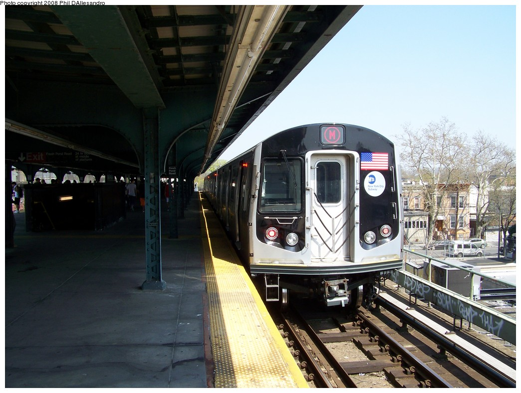 (228k, 1044x788)<br><b>Country:</b> United States<br><b>City:</b> New York<br><b>System:</b> New York City Transit<br><b>Line:</b> BMT Myrtle Avenue Line<br><b>Location:</b> Fresh Pond Road <br><b>Route:</b> M<br><b>Car:</b> R-160A-1 (Alstom, 2005-2008, 4 car sets)  8381 <br><b>Photo by:</b> Philip D'Allesandro<br><b>Date:</b> 4/19/2008<br><b>Viewed (this week/total):</b> 2 / 2380