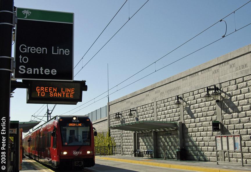 (190k, 864x592)<br><b>Country:</b> United States<br><b>City:</b> San Diego, CA<br><b>System:</b> San Diego Trolley<br><b>Line:</b> Green Line <br><b>Location:</b> Alvarado Medical Center <br><b>Car:</b> Siemens SD70  3006 <br><b>Photo by:</b> Peter Ehrlich<br><b>Date:</b> 4/10/2008<br><b>Notes:</b> Alvarado Medical Center Station outbound.<br><b>Viewed (this week/total):</b> 0 / 960
