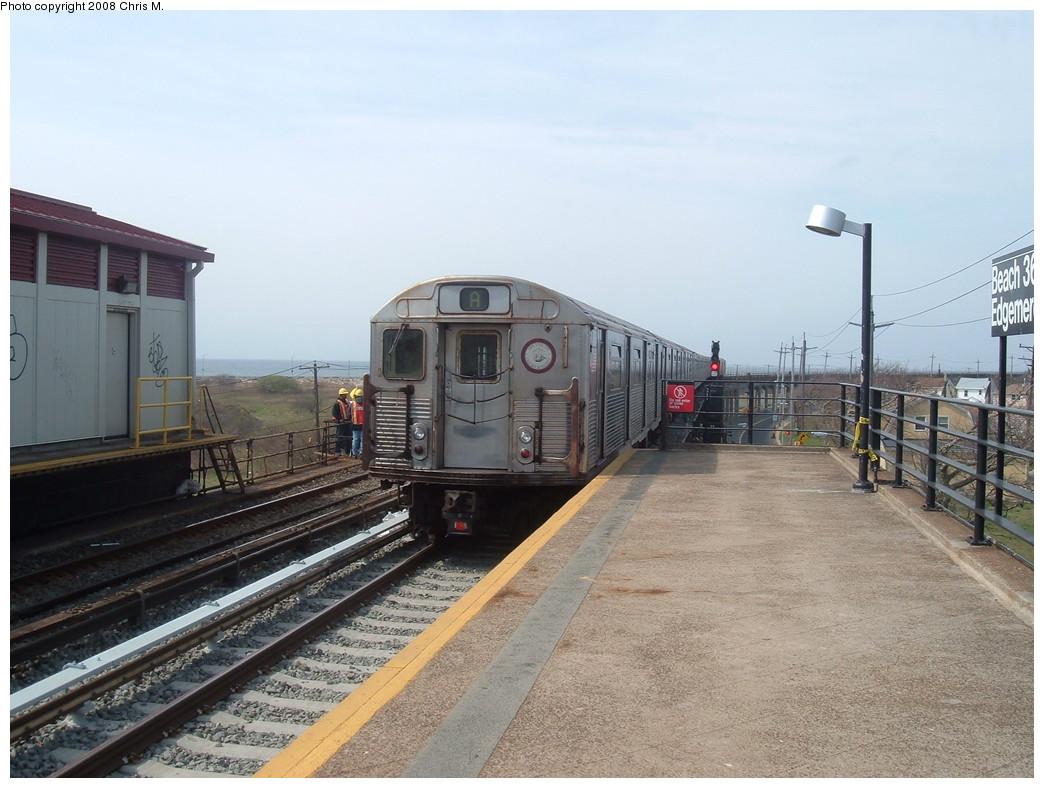 (214k, 1044x788)<br><b>Country:</b> United States<br><b>City:</b> New York<br><b>System:</b> New York City Transit<br><b>Line:</b> IND Rockaway<br><b>Location:</b> Beach 36th Street/Edgemere <br><b>Route:</b> A<br><b>Car:</b> R-38 (St. Louis, 1966-1967)  4014 <br><b>Photo by:</b> Chris M.<br><b>Date:</b> 4/21/2008<br><b>Viewed (this week/total):</b> 1 / 2126