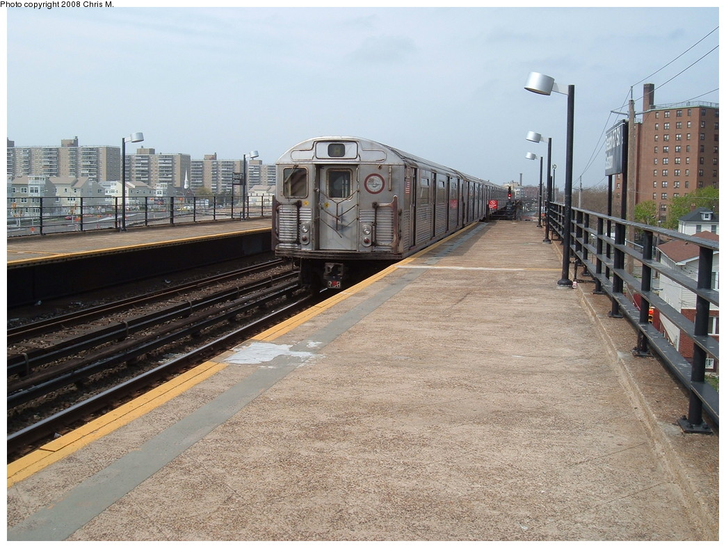 (267k, 1044x788)<br><b>Country:</b> United States<br><b>City:</b> New York<br><b>System:</b> New York City Transit<br><b>Line:</b> IND Rockaway<br><b>Location:</b> Beach 67th Street/Gaston Avenue <br><b>Route:</b> A<br><b>Car:</b> R-38 (St. Louis, 1966-1967)   <br><b>Photo by:</b> Chris M.<br><b>Date:</b> 4/21/2008<br><b>Viewed (this week/total):</b> 5 / 1488